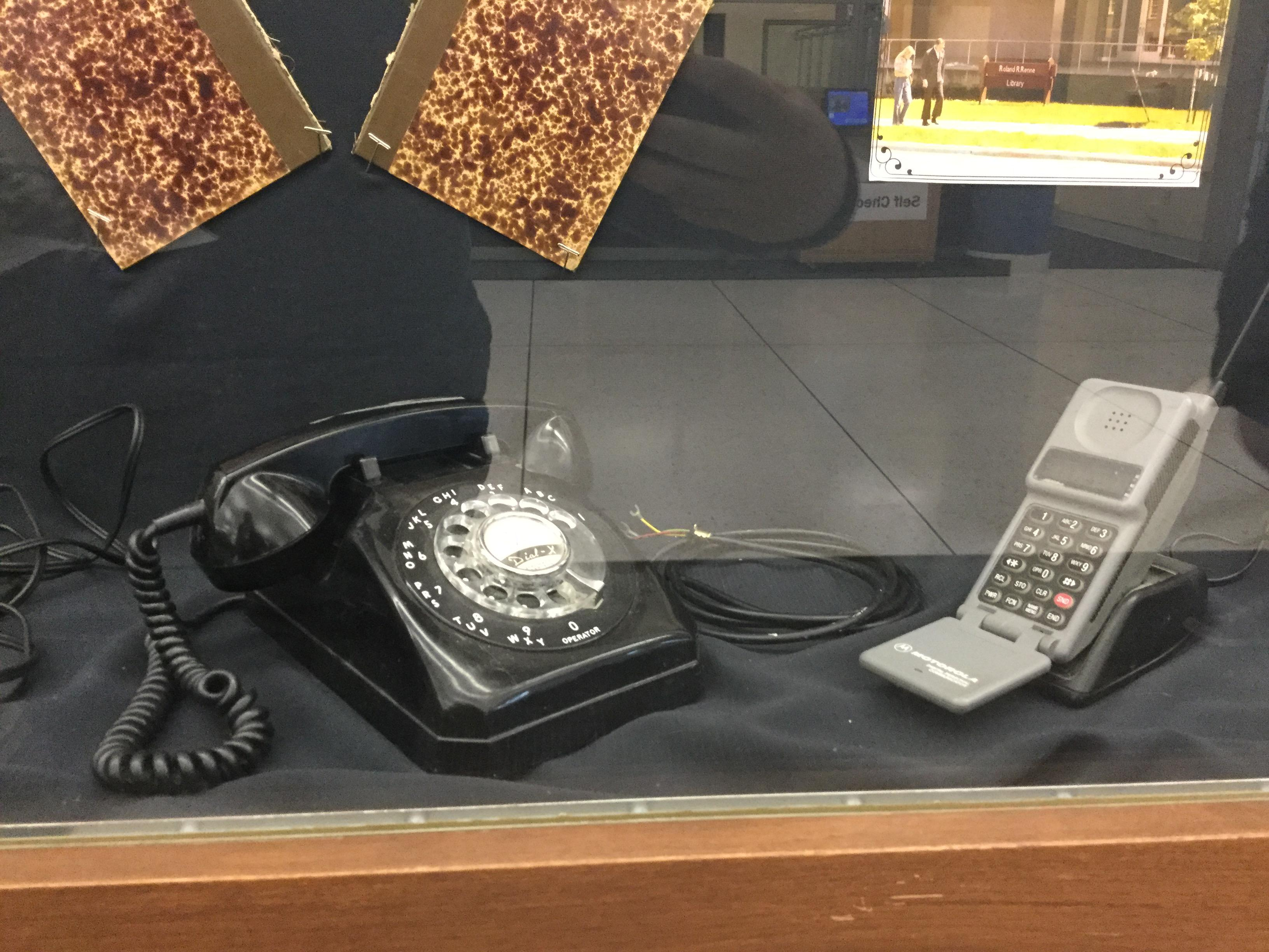 Picture close up of the telephones from the People and Technology Display