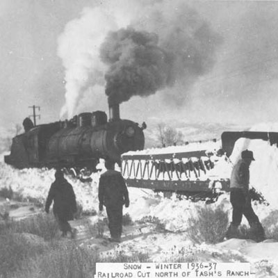 Snowplow Pushed by Steam Locomotive, Twin Bridges, MT, 1936