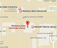 Map to the Montana State University Library