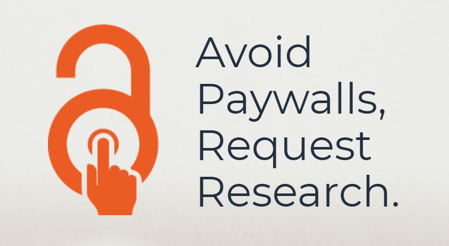 Open access button logo that says avoid paywalls, request research.