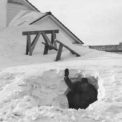 Winter Snow Cave, Browning, MT, 1937