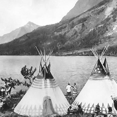 Blackfoot Camp, Glacier Lake, ca. 1900