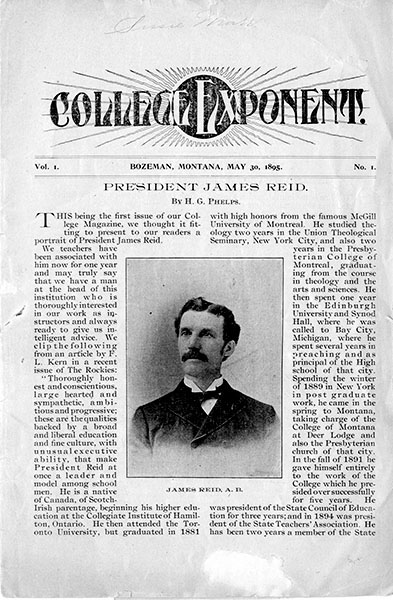 Front Page 1896 First Issue of Exponent