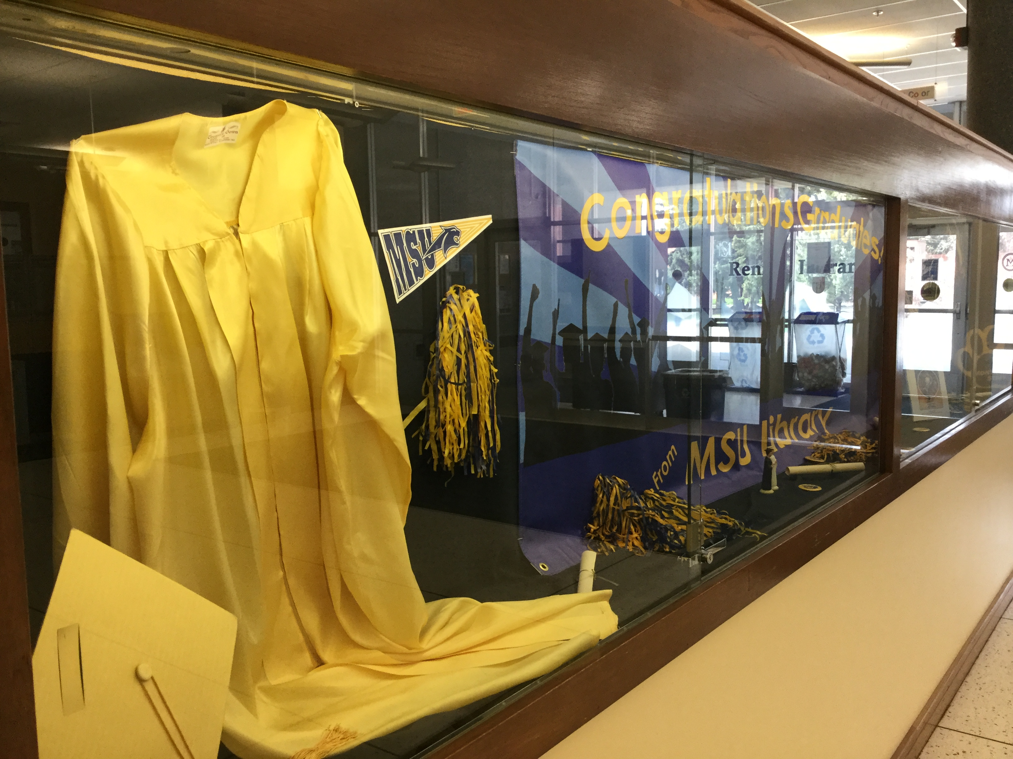 Graduating class of 2019 display case angled from left