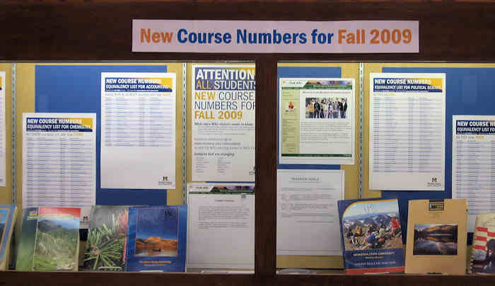 New Course Numbers display
