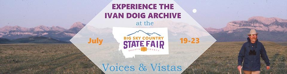 promo slide for ivan doig at the montana state fair