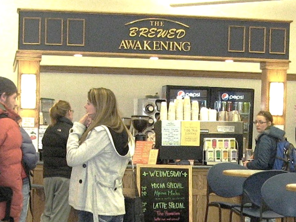 Brewed Awakening Space on the first floor of the library.