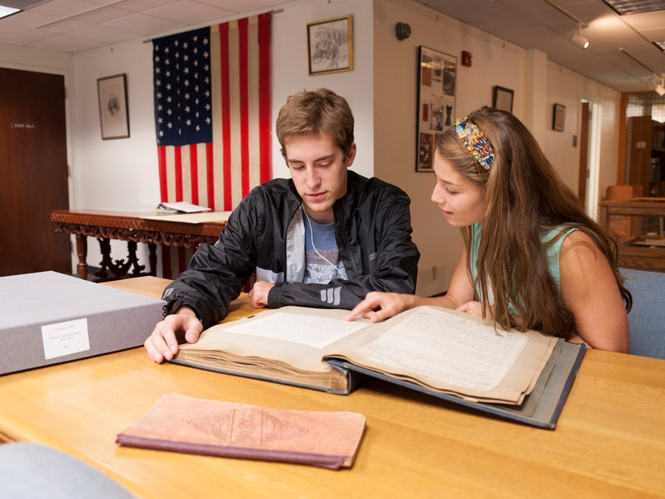 Students studying together in Special Collections